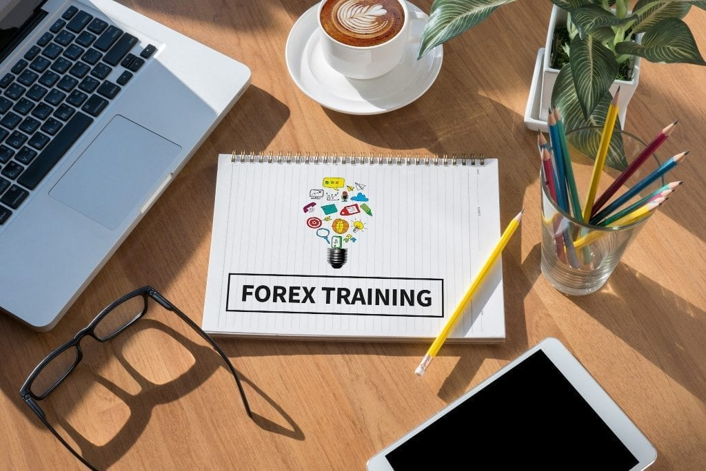 Forex training drawn on notebook